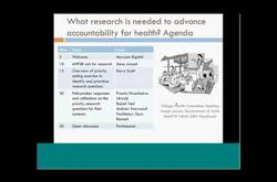 What research is needed to advance accountability for health