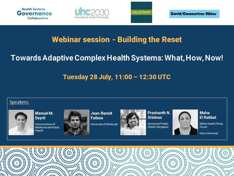 Webinar - Towards Adaptive Complex Health Systems: What, How, Now!